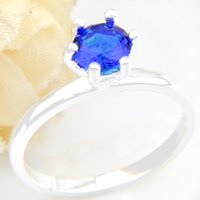 Wholesale Valentine Rings - 6 PCS LOT Luckyshine Valentine Gift Amazing Round Sky Blue Topaz Gemstone 925 Sterling Silver Plated Weddiing Rings R0793