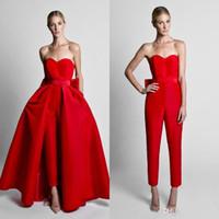 palabra de longitud vestidos de rojo al por mayor-Krikor Jabotian Red Jumpsuits Bow Sash Vestidos de noche con falda desmontable Sweetheart Floor Length formal Party Prom Gowns Pants