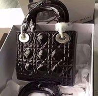 Wholesale miss handbags - Free Shipping Brand Miss Lady Crossbody Bag Mini Chain Shoulder Bag Women's Genuine Patent Leather Handbags 17cm