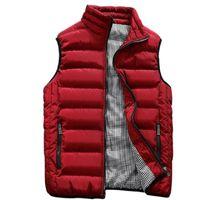 colete de algodão para homens venda por atacado-2018 novo colete vermelho homens outono inverno jaqueta sem mangas colete de algodão sólido com zíper plus size 5XL casual jaquetas curtas