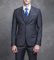 mens grau stück anzüge groihandel-Gentle Grey Groom Hochzeit Smoking Trim Fit Spitzen Revers Hübsche Herren Anzüge One Button 3 Stück (Jacke + Hose + Weste) Anzüge