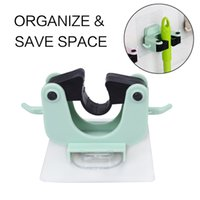 Wholesale Organize Homes - Self-adhensive Mop Holder Home Use Tool & Accessory on Wall for Organizing & Storage Frame Green Blue Color