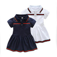 Wholesale baby clothing line for sale - Baby Girls Dress Short Sleeved Newborn Lapel Cotton Dress Baby A line Party Dress M T Infant Clothing