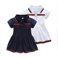 ingrosso vestiti da festa breve per i bambini-Neonate vestito a maniche corte neonato in cotone con risvolto abito bambino A-line Party Dress 6M-3T abbigliamento da neonato
