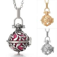 colar jóias de moda venda por atacado-Óleo essencial Difusor Pingente Colares para As Mulheres Oco out Aromaterapia Medalhão Colar de Jóias de Moda 3 Cores