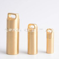 Wholesale waterproof capsule container resale online - 3 Size Set Metal Brass Portable Waterproof Capsule Seal Bottle Outdoor EDC Survival Box Container First Aid Emergency Tank Case