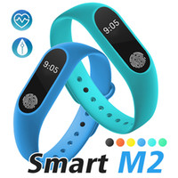 Wholesale watch band packaging - M2 Fitness tracker Watch Band Heart Rate Monitor Activity Tracker Smart Bracelet Pedometer Call remind Health Wristband With Package