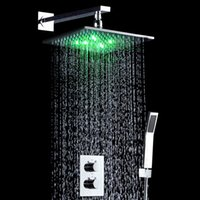 "Wholesale power saving switches - 10"" LED Light Shower Mixer Set Thermostat Faucet Shower Bathroom Shower Head Powered by Water Square Saving Water Chromed Spout"