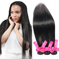 Wholesale brazilian remy hair for cheap - Top Straight Brazilian Remy Human Hair Weave 3Pcs Lot Silky Straight Weaves Natural Black Cheap Brazilian Human Hair Bundles For Black Women