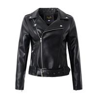 bayanlar yumuşak deri ceketler toptan satış-Rahat PU Deri Ceket Kadınlar Klasik Fermuar Kısa Motosiklet Ceketler Lady Sonbahar Yumuşak Deri Temel Coat Siyah