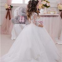Wholesale Long Wedding Dres - Elegant Ball Gown Flower Girls Dresses For Weddings Sheer Neck Long Sleeves Applique Lace Tulle Children Wedding Dresses Girls Pageant Dres