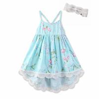 детское махровое платье оптовых-Baby Girls Dress Summer Beach цветочные партии Backless Blue Tutu платья старинные малыш девочка принцесса платья 1-6Y