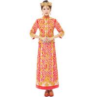 robes de soirée en or vintage achat en gros de-Robe de robe de dragon d'or et d'argent Printemps Automne Robe de soirée de mariée de style chinois Voir la broderie cantonais