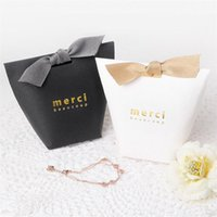Wholesale wholesale party food boxes - Gift Box Exquisite French Thanks Merci Luxury Paper Bag Gilding Folding Candy Boxes For Wedding Favor Party Decor GGA459 1600PCS