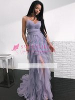 Wholesale Hot Pink Party Dresses - 2018 Hot Sale Romantic Lavender Layered Prom Dresses Spaghettis Straps Slit Party Gowns Formal Evening Occasion Dresses Custom Made
