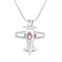 Wholesale Christmas Airplane - New Arrived Airplane 18k Gold Plated Pearl Cage Pendants DIY Wish Love Pearl Necklace Pendants Jewelry Lockets