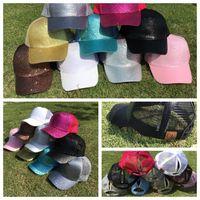 Wholesale Sequin Hats Caps - 9 color cc cap Glitter Ponytail Baseball Cap Snapback Hip Hop Caps For Women Messy Bun Sequins Shine Summer Mesh Trucker Hats KKA4555