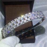 bracelets de diamants en argent achat en gros de-Haute Qualité Étincelant Bracelet De Mariée Diamant S925 Argent Rempli Bracelet de fiançailles pour les femmes accessoires de mariage Bijoux