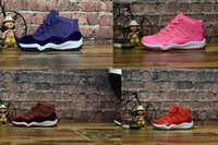 Wholesale Massage 18 - 2017 new air retro 11 XI Velvet Heiress Night Maroon kids basketball shoes air 11s Win Like 96 Gym Red White-Black boy and girls sneakers