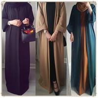traje de satén traje de mujer al por mayor-2019 Nueva llegada de las mujeres musulmanas de manga larga abierta Abaya más el tamaño de las mujeres islámicas vestido de color sólido Jilbab
