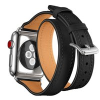 Wholesale extra watch online - Extra Long Luxury Genuine Leather Band for Apple Watch mm mm Watch Strap Watchband Double Tour Watch Belt Bracelet Business Style