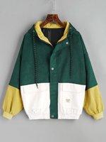 pops duruyor toptan satış-2018 Sonbahar Kore pop Yeni casual standı yaka kawaii nakış kadife ceket kadın Harajuku beyzbol üniforma kadın ceket