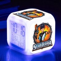 настольные часы бесплатно оптовых-Party Birthday Gift Table Clock Slugterra LED Alarm Clock reloj despertador Lighting Up Digital Watch Free Dropship