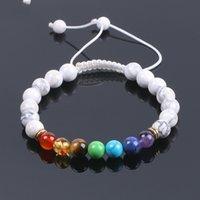 Wholesale white braided rope bracelets - White Howlite Beaded Bracelet Natural Gem Stone 7 Chakra Yoga Mala Beads Tibetan Buddhist Meditation Braid Rope