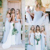 Wholesale Cheap Gorgeous Bridesmaid Dresses - 2018 Cheap Light Sky Blue Off-shoulder A-Line Bridesmaid Dresses Draped Beach Amsale Gorgeous Bohemian Plus Size Custom Made Party Gowns