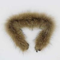 diy eşarpları toptan satış-Hakiki Kürk Kurt Yaka Boyalı Yumuşak Coyotes Kürk Eşarp Çocuk DIY Gerçek Rakun Giysi Için Giysi Manşet Ayakkabı Şapka Aksesuarları