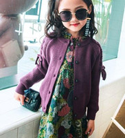 Wholesale Girl Lace Sweater - Spring Kids knited cardigan fashion girls lace-up Bows long sleeve sweater outwear children round collar single breasted casual tops R2069