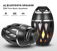 colunas para bluetooth portáteis venda por atacado-A1 levou chama bluetooth speaker portátil estéreo bluetooth 4.2 alto-falante sem fio para iphone x 8 samsung s8 com pacote de varejo