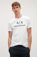 новая эластичная рубашка оптовых-Новые зарубежные интернет-магазины Emporio AX мужчины и женщины носят ту же гладкую, круглую шею, эластичную футболку с короткими рукавами с ТОПом