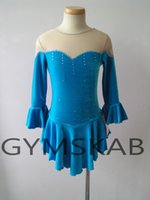 Wholesale blue ice skating dresses resale online - 2018 Elegant Figure Skating Dress Women s Girl s Customized Ice Skating Dress Middle Length Sleeves Gymnastics Costume