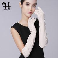 opern lange lederhandschuhe großhandel-FURTALK Super Long 50cm 60cm Damen SuppleTouch Screen Nappaleder Opera Dressing Handschuhe