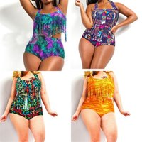 Wholesale sexy two piece swimwear floral online - Lady Bikini Set Two Piece Suits Sexy Padded Tassel Floral Femme Plus Size Woman Swimsuit Swimwear High Waist al V