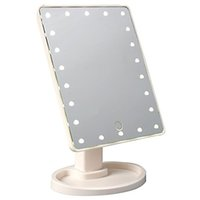 espejo cosmético cuadrado al por mayor-MakeUp LED Mirror 360 Degree Pantalla táctil de rotación Make Up Cosmetic plegable Portable Compact Pocket con 22 LED Light Makeup Mirror