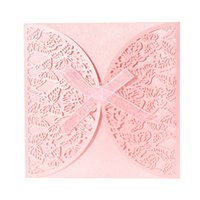 Wholesale Crafts Invitations - Wholesale-40PCS Romantic Iridescent Paper Wedding Invitation Card Butterfly Pattern Carved Hollow Out Crafts Cards Party Wedding Banquet