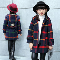 Wholesale Boy Winter Wool Coat - 2017 Children Girl Winter Warm Coat Jacket Plaid Wool Hoodied Coats Jackets Kids Girls Thickening Outfits