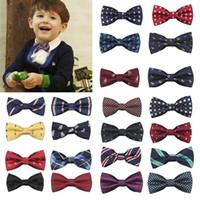 Wholesale purple gold striped tie online - MUQGEW New School Boys Kids Children gentle Baby Bow Tie Adjustable length Wedding Striped Colour Tie Necktie headband