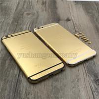 24ct gold gehäuse großhandel-Für iPhone 6 6 plus 24kt 24ct 24k Spiegel vergoldet Gehäuseabdeckung Chassis Mittelrahmen Ersatz versandkostenfrei