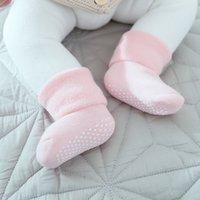 ingrosso calzini in nylon-Baby Socks Neonato Unisex Autunno Inverno Morbido cotone Ispessimento Colore caramella Calzino Infantile Ragazzi Ragazze Calze antiscivolo 0-3Y