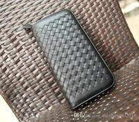 ручной кошелек оптовых-небольшой бумажник мужской пакет корейский моды тканые кожаный бумажник мужчины мода досуг бизнес ручной работы мужчины многофункциональный бумажник