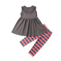 çocuklar renginde tozluklar toptan satış-Yürüyor Çocuk Bebek Kız Üstleri Elbise T Gömlek Ruffles Çizgili Pantolon Tayt Kıyafetler Set Pamuklu Giysiler