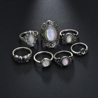 çivi taşları toptan satış-Boho 7 Adet Vintage Gümüş Fil Parmak Doğal Taş Aytaşı Yüzük Kristal Knuckle Ortak Tırnak Yüzük Kadınlar Takı Hediyeler Için H409R Set