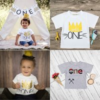 Wholesale Wild Child Clothes - Baby Wild one letter print T-shirts children boys print tops summer Tees 2018 new Boutique kids Clothing C3885