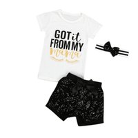 Wholesale classic baby clothes sets - Classic kids summer clothes girls clothing sets cotton baby sequin headbands + letter print t shirts + black sequin shorts pants outfit
