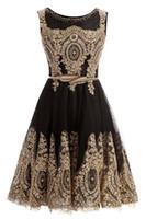 Wholesale homecoming dress belt resale online - 2019 Short Homecoming Graduation Dresses Gold Lace Black Jewel Neck With Belt Short Prom Evening Gown