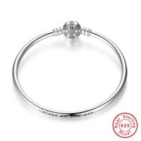 ingrosso braccialetto gioielli incisi-100% 925 Sterling Silver Engrave Snowflake Clasp Unico come tu sei Snake Chain Bracelet Bangle gioielli fai da te fascino