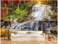 Wholesale Photography Modern - Custom painting for living room Maple Forest Rock Falls art Photos background photography bedroom murals-3d wall wallpaper 3d